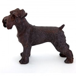 Handsome Standing Schnauser Bronze Sculpture