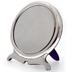 Plain Silver Circular Dressing Table Mirror with Easel Back by William Comyns