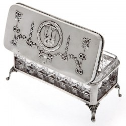 Edwardian Silver and Cut Glass Jewellery Box by William Comyns with Removeable Glass Liner