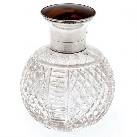 Silver and Tortoiseshell Perfume Bottle with Cut Glass Body (1926)