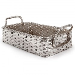 Decorative Silver Plate Weave Effect Basket with Two Applied Reeded Handles