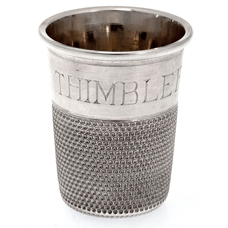 Just A Thimble Full Antique Chester Silver Spirit Measure