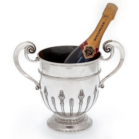 Antique Silver Trophy Cup or Wine Cooler with Two Scroll Handles (1901)