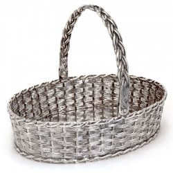 Collis & Co SIlver Plate Cast Wicker Effect Oval Basket with Swing Handle (c.1875)