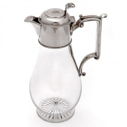 Edwardian Silver Claret Jug with Plain Mount and Clear Glass Body (1902)