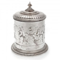 Large Elkington & Co Silver Plate Barrel Depicting Horses and Horsemen (c.1880)