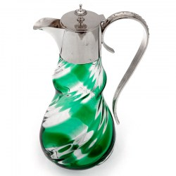 Victorian Silver Plated Claret Jug with a Green and Clear Spiral Glass Body