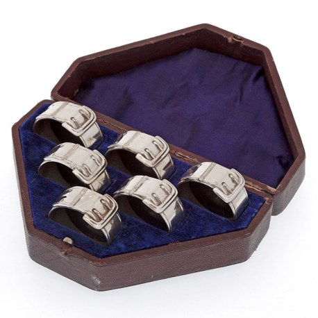 Set of Six Silver Plated Numbered Napkin Rings Cast in the Shape of Buckles