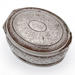 Oval Continental Silver Snuff Box Decorated with Floral Scenes and Gilt Interior