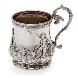 Late Victorian Silver Plate Christening Mug with Scenes of Children Playing