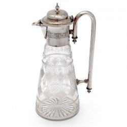 Victorian Silver Plated Claret Jug with an Unusual Long Curved Tubular Handle