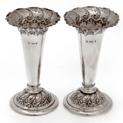 Pair of Victorian Silver Flower Vases with Plain Bodies and a Trumpet Shaped Neck