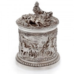 Victorian Silver Plate Barrel Featuring Huntsmen Horses Hounds and Stables