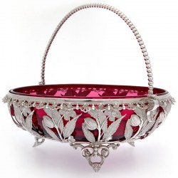 Victorian Silver Plated Basket with a Cranberry Red Glass Liner and Beaded Swing Handle