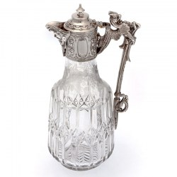 Victorian Silver Plate Claret Jug with a Bacchus Mask Spout and Cast Gargoyle Handle