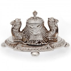 Silver Plated Ink Stand Featuring Two Back to Back Camels (c.1870)