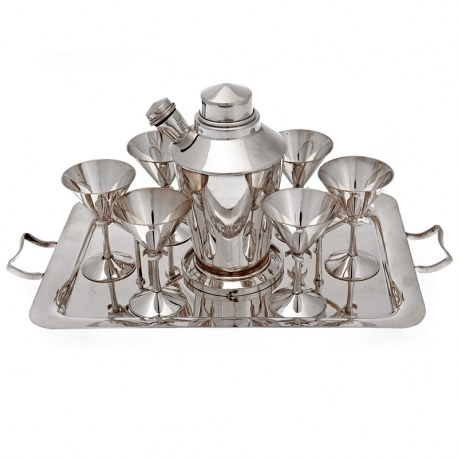 English Silver Plate Cocktail Set inc Shaker Six Cups Olive Pick Holder and Two Handle Tray
