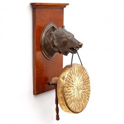 Bronze Bear Head Wall Mounted Gong with a Circular Brass Gong (c.1900)