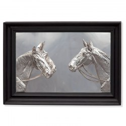 Silver Plated Framed Relief of Two Horse Heads (c.1900)