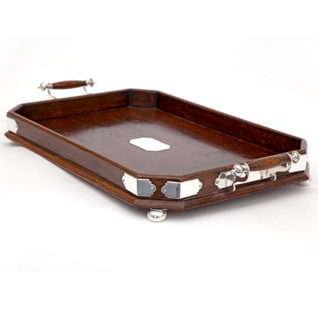 Edwardian Polished Oak Cut Corner Gallery Tray with Silver Plated Mounts