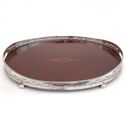 Antique Oval Silver Plate and Mahogany Gallery Tray (c.1890)