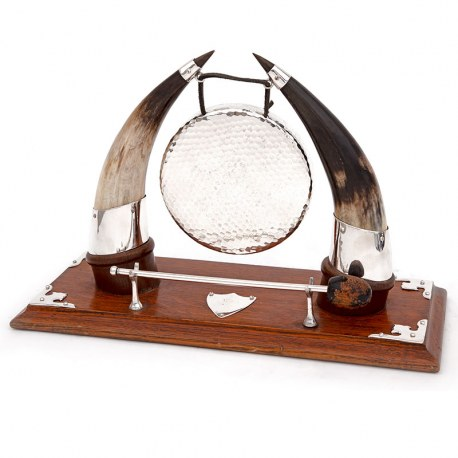 Cow Horn and Oak Decorative Gong with Silver Plated Corners and Original Striker