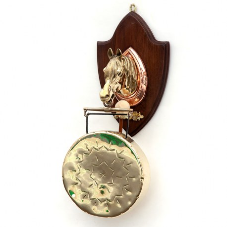 Wall Mounted Horse Head Gong with a Shield Shaped Plaque