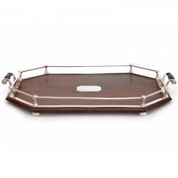 Antique Cut Corner Oak and Silver Plated Tray with a Double Rail Gallery (c.1900)