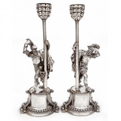 Pair of Elkington Silver Plate Figural Cavaliers of Exceptional Quality (c.1875)