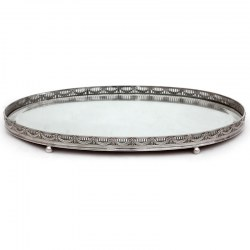 Oval Silver Plated Oak Backed Mirror Plateau with a Pierced Gallery