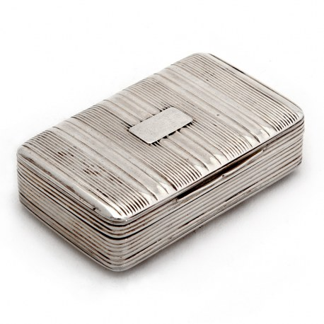 Samuel Pemberton Silver Snuff Box with Reeded Body Hinged Lid and Bright Gilded Interior