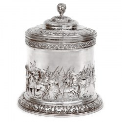 Elkington & Co Silver Plated Biscuit Box Featuring Mounted Cavalry Scenes