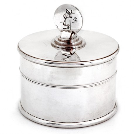 French Art Deco Circular Silver Plated Box with Golfing Theme Finial (1930)
