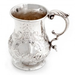 Silver Plated Christening Mug Chased with Rococo Flowers and Scrolling Foliage