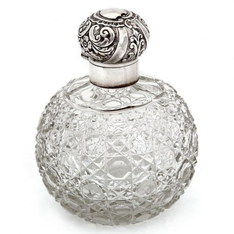 Large Victorian Silver Top Perfume Bottle with a Hob Cut Glass Globe Shaped Body