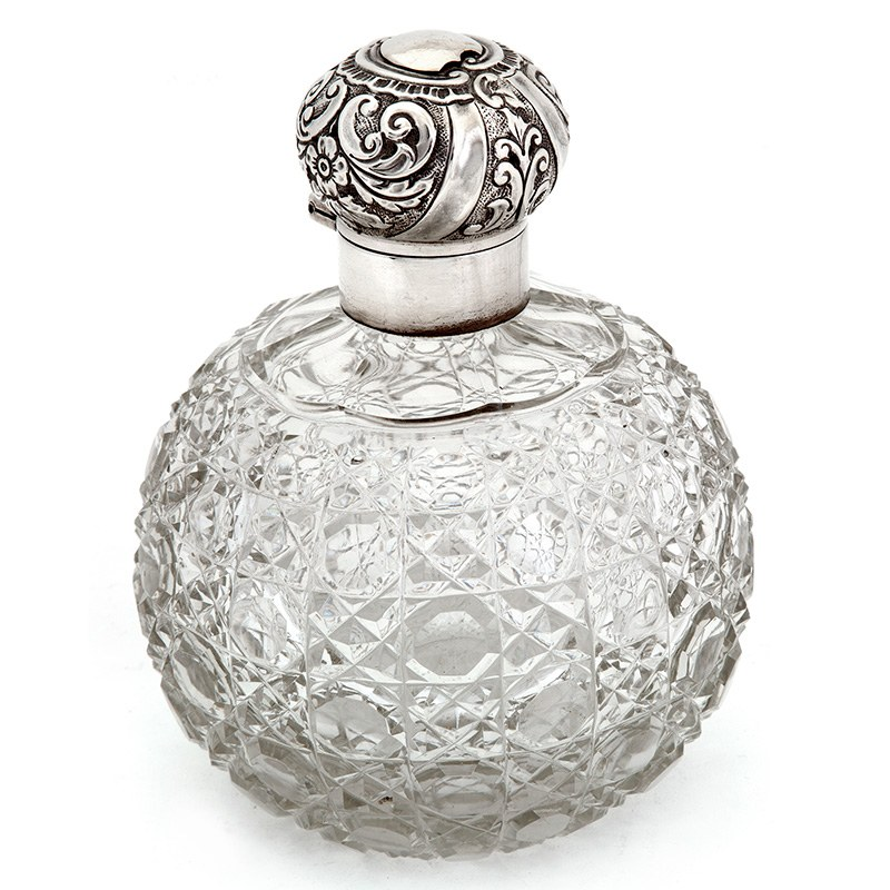 Victorian Silver Top Scent Bottle With A Hob Cut Glass