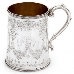 Early Victorian Tapering Cylindrical Shaped Silver Christening Mug (1869)