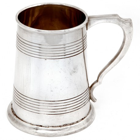 Georgian Style Silver Pint Mug with a Plain Tapering Body with Turned Reeded Bands