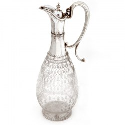 Victorian Silver Claret Jug with Star Cut and Oval Lattice Paneled Glass Body (1876)