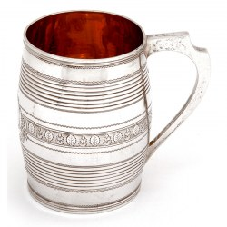 Antique Georgian Barrel Shaped Silver Christening Mug (1800)