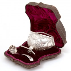 Boxed Victorian Silver Sugar Basket with Matching Sifter Spoon (1886)