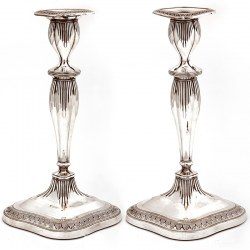 Old Sheffield Candlesticks with Tapering Fluted Stems and Oval Shaped Bases