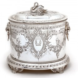 Victorian Silver Plate Biscuit Box with Swan Finial and Lion Mask Swing Handles