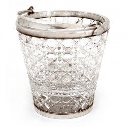 Quality Silver Plate and Cut Glass Ice Pail with Looped Swing Handle (c.1900)