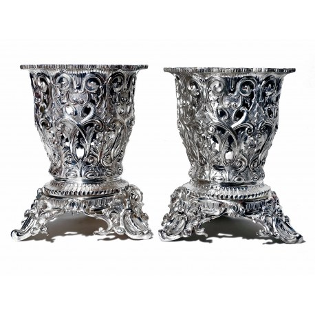 Pair of Very Ornate Victorian Silver Plated Wine Coolers c.1880