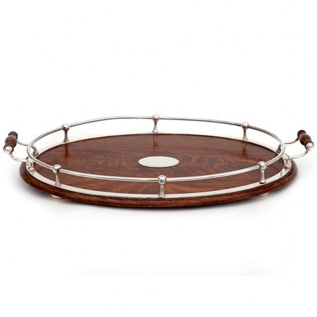 Oval Oak and Silver Plate Ships Style Gallery Tray with a Ball and Rail Gallery