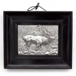 Antique Victorian Silver Plated Framed Relief of a Standing Stag (c.1890)