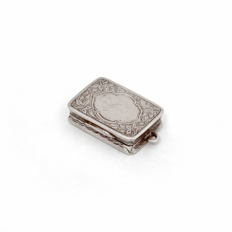 George Unite Victorian Silver Vinaigrette Beautifully Engraved with Floral Scenes