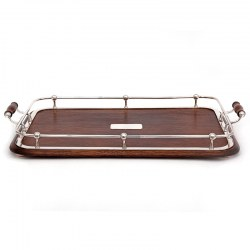 Edwardian Oak and Silver Plate Rectangular Gallery Tray