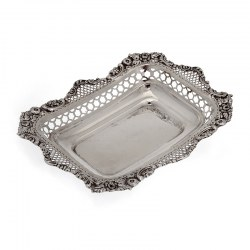 Decorative Silver William Comyns Dish with Floral Scroll and Trellis Work